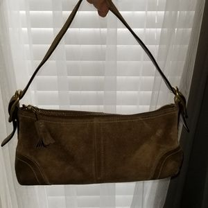 Coach Bags - Coach suede mini bag GUC brown